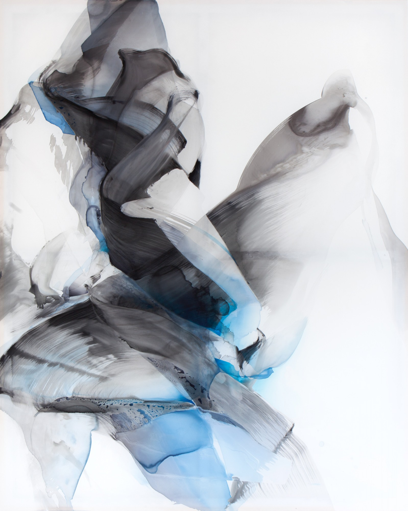 Natascha Schmitten - Kryosphere, 2019, ink, oil on nylon, 250 x 200 cm
